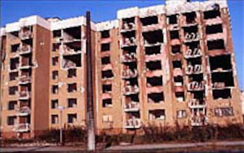A damaged building in Sarajevo. (U.S. Air Force photo)