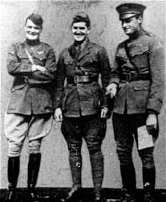 Lts. Winslow (left) and Campbell (center) of the 94th Aero Squadron with their commanding officer, Maj. John W.F. Huffer. (U.S. Air Force photo)