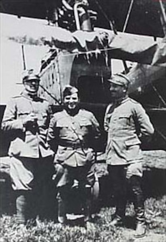 Maj. Fiorello H. La Guardia, standing between two Italian officers, was in command of U.S. Air Service personnel in Italy. La Guardia later gained fame as the mayor of New York City from 1933-1945. (U.S. Air Force photo)