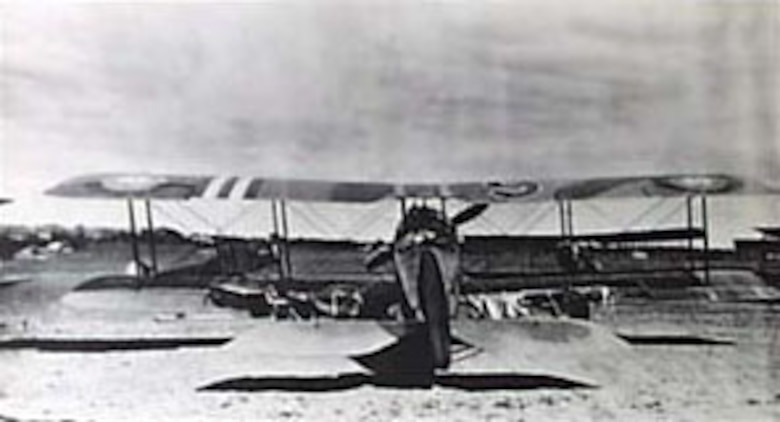 Salmson 2A2 of the 91st Aero Squadron with the lower wing heavily damaged by enemy anti-aircraft fire on Sept. 14, 1918. (U.S. Air Force photo)