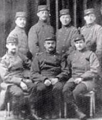 Bill Thaw (front center) and Bert Hall (rear right) were members of the French Foreign Legion, 1914, prior to transferring to the French Aviation Service. (U.S. Air Force photo)