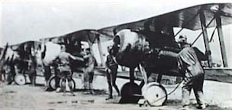 Nieuport 28s of the 95th Aero Squadron prepare to depart on a mission from Toul, France. (U.S. Air Force photo)