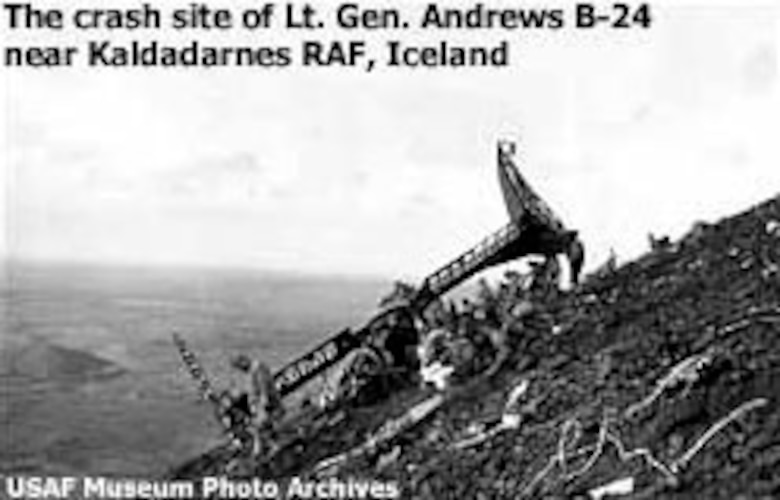The crash site of General Andrews' B-24 near Kaldadarnes RAF, Iceland. (U.S. Air Force photo)