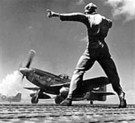 "P-51D ""My Girl"" taking off from Iwo Jima. (U.S. Air Force photo)"