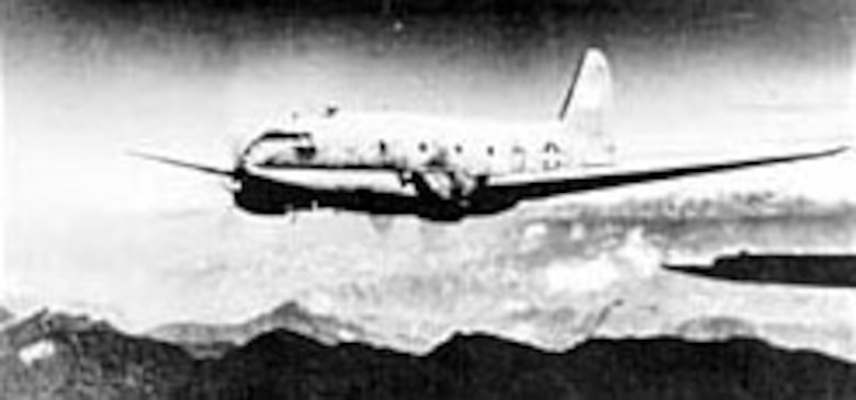 A C-46A en route to China over the Himalayas. (U.S. Air Force photo)