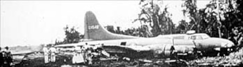B-17 (S/N 41-24540) after crash-landing in the jungle. (U.S. Air Force photo)