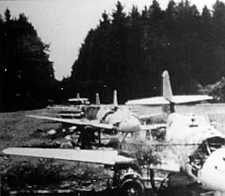 Before they could be completed, these new Me 262s were systematically destroyed by the Germans to prevent the Allies from capturing them intact. (U.S. Air Force photo)