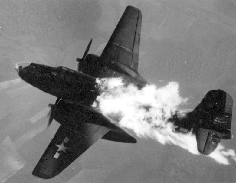 Douglas A-20J-10-DO (S/N 43-10129) of the 409th or 416th Bomb Group after being hit by flak over Germany. (U.S. Air Force photo)