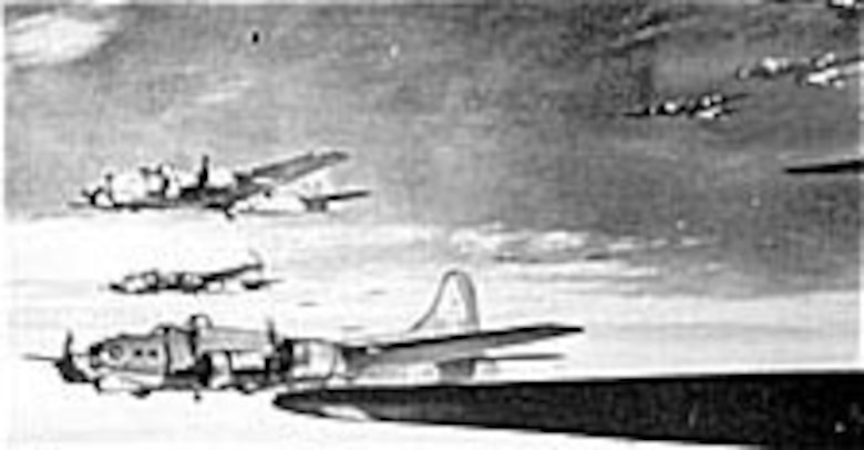 When German fighter pilots began making frontal attacks on AAF B-17s, chin turrets were installed on the bombers for increased defensive fire late in 1943. (U.S. Air Force photo)