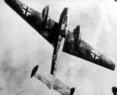 The Luftwaffe also relied upon twin-engine planes such as the Junkers Ju 88 and the Messerschmitt Me 110 (shown here), particularly when AAF bombers flew above the heavy clouds. U.S. Air Force photograph.