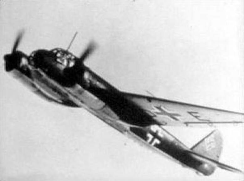 The Luftwaffe also relied upon twin-engine planes such as the Junkers Ju 88 (shown here) and the Messerschmitt Me 110, particularly when AAF bombers flew above the heavy clouds. (U.S. Air Force photo)