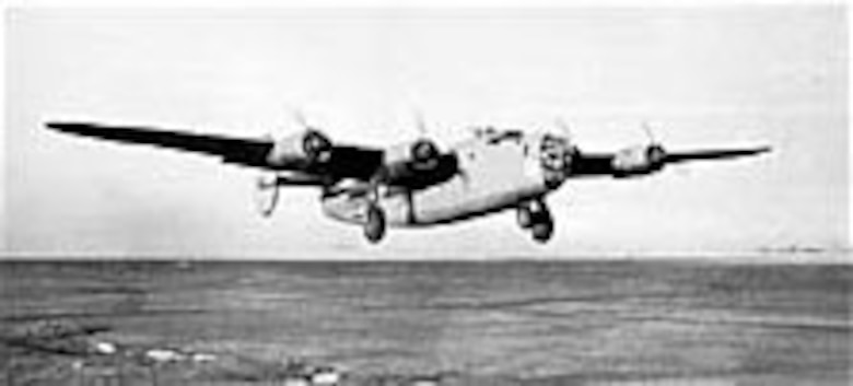 B-24 of the 376th Bomb Group, 515th Bomb Squadron, taking off. (U.S. Air Force photo)