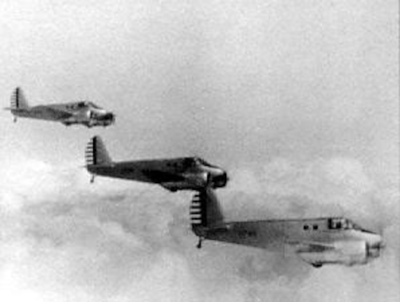 Formation of Beechcraft AT-10s. (U.S. Air Force photo)