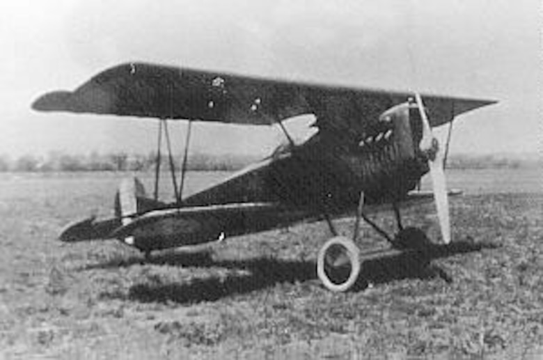German Fokker D.VII from the World War I period. It was modified at McCook Field into a two-place airplane powered by a U.S.-built Packard engine. (U.S. Air Force photo)