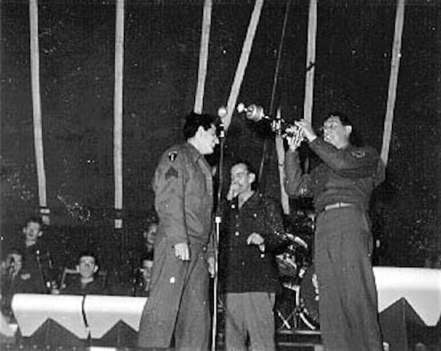Another photograph of Maj. Glenn Miller and his band taken by the soldier in the audience. (U.S. Air Force photo)