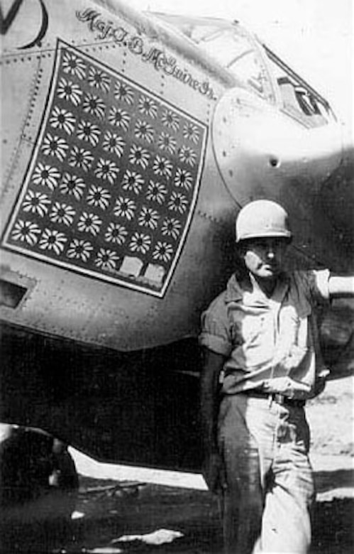 Detail of Pudgy (V). Note there are 40 victory flags although Maj. Thomas B. McGuire Jr.'s official number of victories was 38. (U.S. Air Force photo)