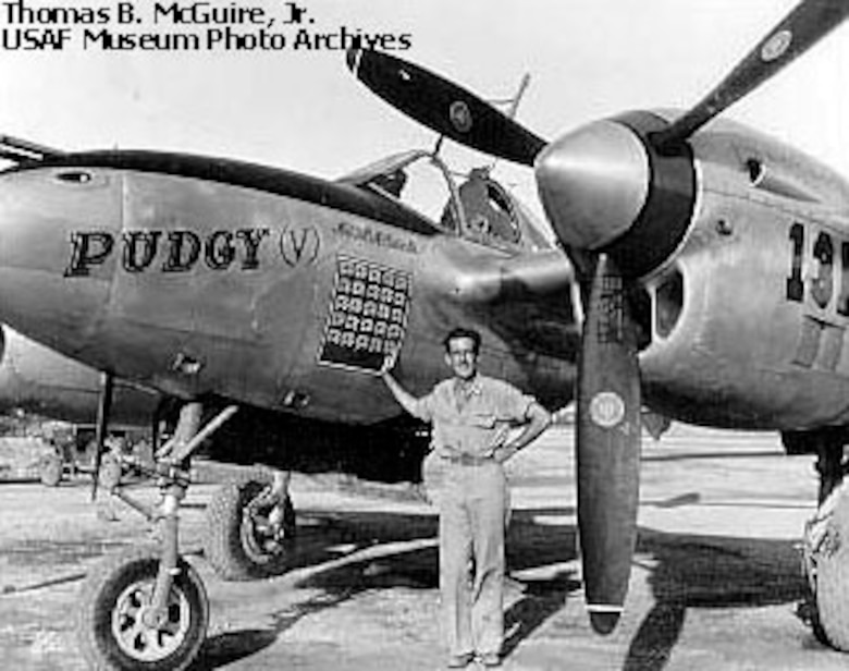 Thomas B. McGuire Jr. with Pudgy (V), his regular P-38L-1-LO (S/N 44-24155), although he was killed in another aircraft (P-38L, S/N 44-24845). (U.S. Air Force photo)