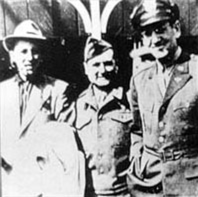 Bing Crosby (left) made several broadcasts with the Army Air Force Band in August 1944. (U.S. Air Force photo)