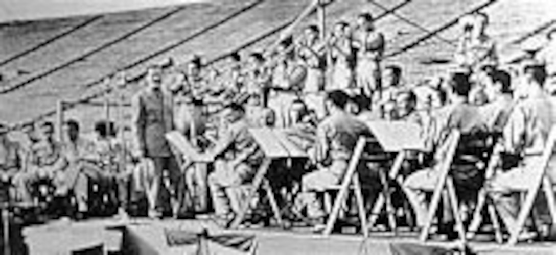 The Glenn Miller Army Air Force Band performs at the Yale Bowl at Yale University in 1943. (U.S. Air Force photo)