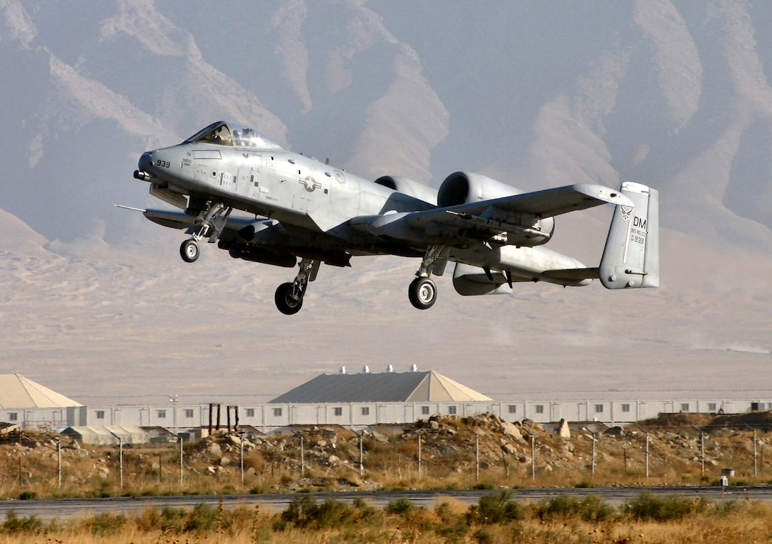 BAGRAM AIR BASE, Afghanistan -- An A-10 Thunderbolt II takes off on a combat mission. Since Sept. 15, A-10s here have flown more than 1,700 sorties in support of Operation Enduring Freedom. The A-10 was the first Air Force aircraft specially designed for close air support of ground forces. (U.S. Air Force photo by Chief Master Sgt. David L. Stuppy)