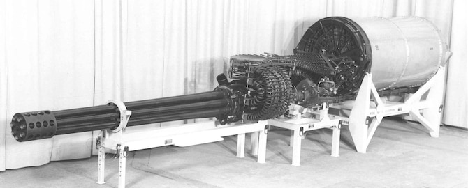 General Electric GAU-8/A on display stand. (U.S. Air Force photo)