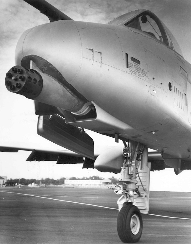General Electric GAU-8/A installed in the Republic YA-10A. (U.S. Air Force photo)