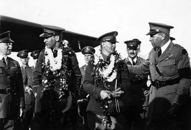 "Atlantic-Fokker C-2 ""Bird of Paradise"" Lts. Maitland and Hegenberger are congratulated after landing at Wheeler Field. (U.S. Air Force photo)"