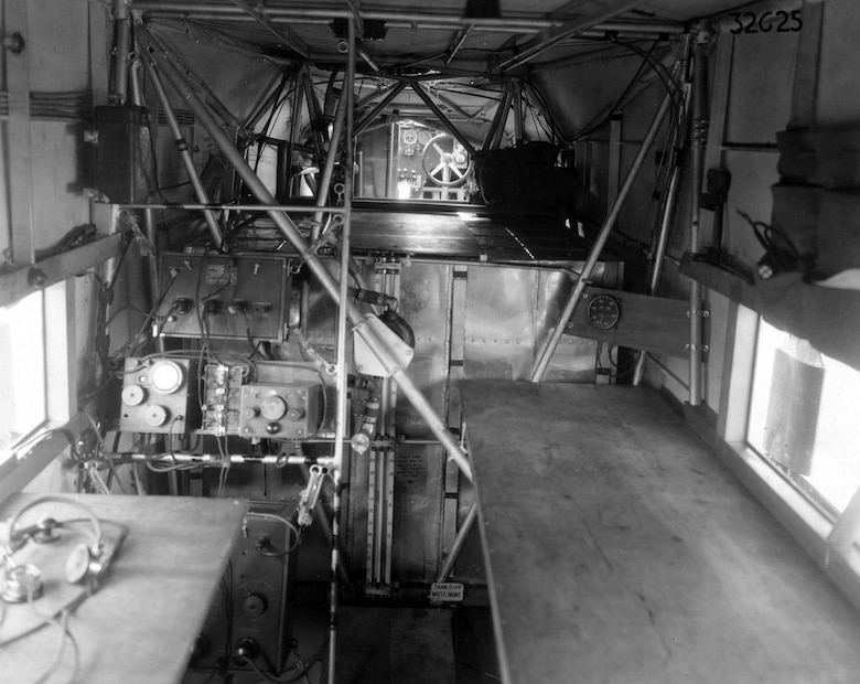 "Atlantic-Fokker C-2 ""Bird of Paradise"" interior view, looking forward from navigator compartment. (U.S. Air Force photo)"