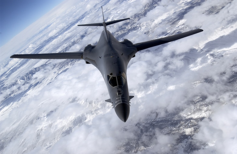 AIRBORNE -- The B-1B Lancer cruises above the clouds. A B-1B test program that combined testing of software upgrades, along with integrating the 500-pound Joint Direct Attack Munition wrapped up here Feb. 24. (U.S. Air Force photo by Master Sgt. Lance Cheung)