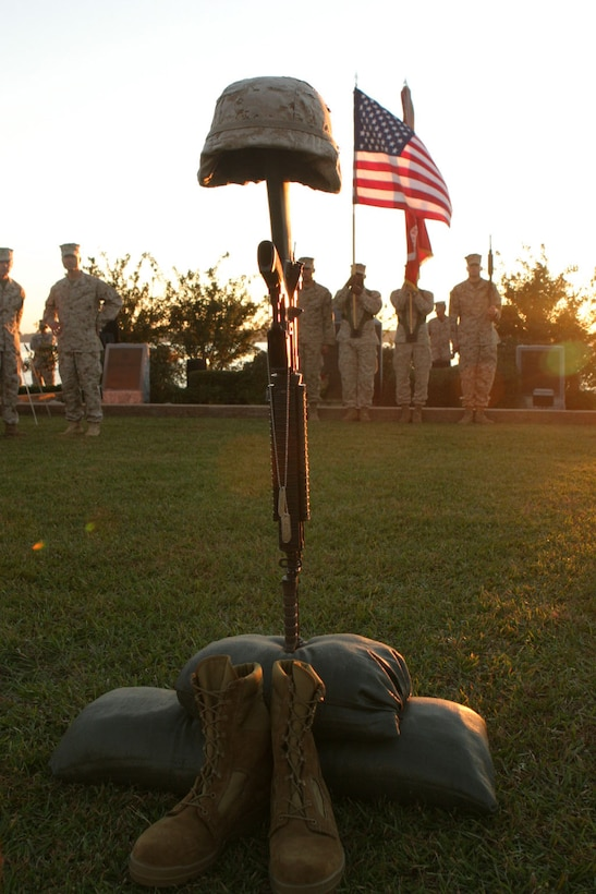 MARINE CORPS BASE CAMP LEJEUNE, N.C. (Nov. 3, 2005)-Marines with 3rd Battalion, 2nd Marine Regiment, 2nd Marine Division honored their fallen brothers killed in action during combat operations while the battalion was deployed in the Al Anbar Province of Iraq supporting Operation Iraqi Freedom. (Official U.S. Marine Corps photo by Lance Cpl. Lucian Friel (RELEASED)