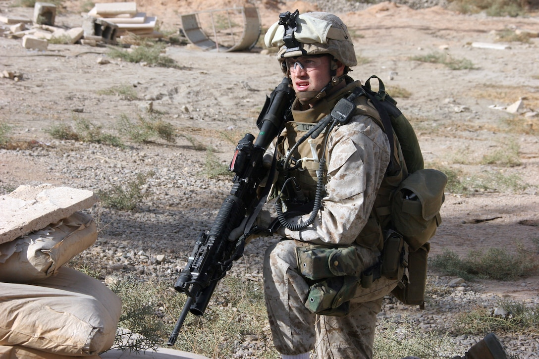 AR RAMADI, Iraq ? Lance Cpl. Scotty Tuttle, an infantryman with Company L, 3rd Battalion, 7th Marine Regiment, stands guard during Operation Shank Dec. 3.