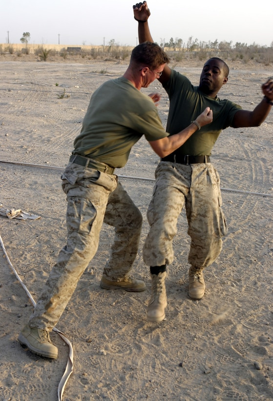 CAMP BAHARIA, Iraq - First Lieutenant Dana Sanford, 1st Battalion, 6th Marine Regiment's motor transport section assistant officer-in-charge, knocks down Petty Officer 3rd Class Iridious Ruise, the battalion's preventive medicine technician, while demonstrating a technique during a martial arts training session here July 29.  The 24-year-old Sterling, Mass. native is a green belt instructor in the Marine Corps Martial Arts Program, and is currently teaching several Marines and sailors in his unit self-defense.