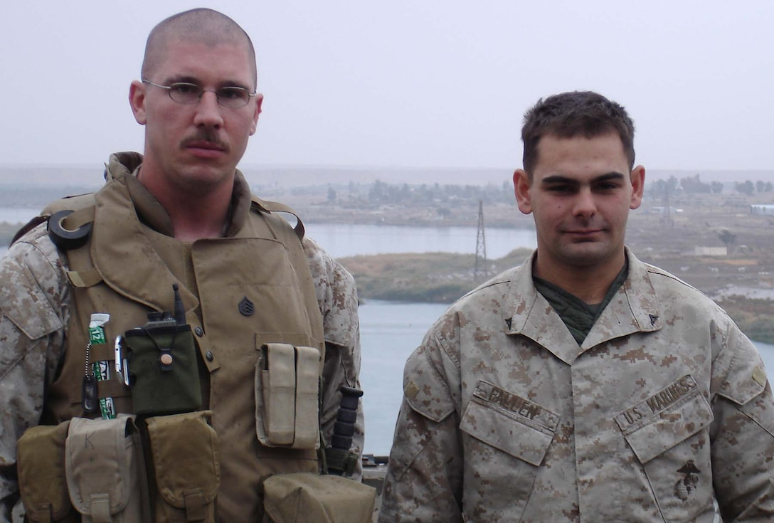 HADITHA DAM, Iraq (Jan 1, 2006) - Staff Sgt. Barrett A Kahl(left) a former recruiter and Lance Cpl. Christopher M. Fallen, Kahl's former recruitee, are stationed at the same base in Iraq here. The two got a chance to reminisce recently during their deployment in support of Operation Iraqi Freedom. (Photo courtesy of SSgt. Barrett A. Kahl)