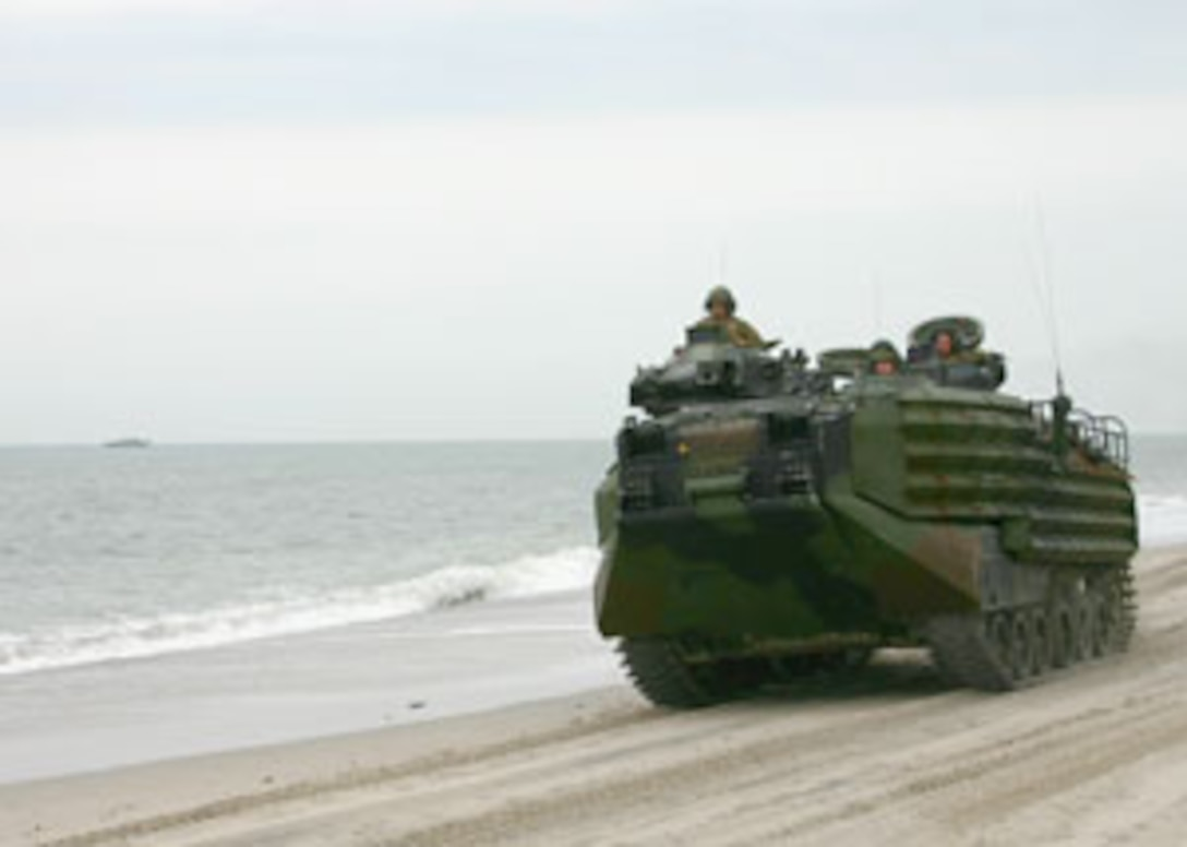 Amphibious Specialty Training (AST), April 12, 2005.  The exercise gave many of the Marines their first taste of shipboard life and the platoon an opportunity to practice conducting ship-to-shore movements.