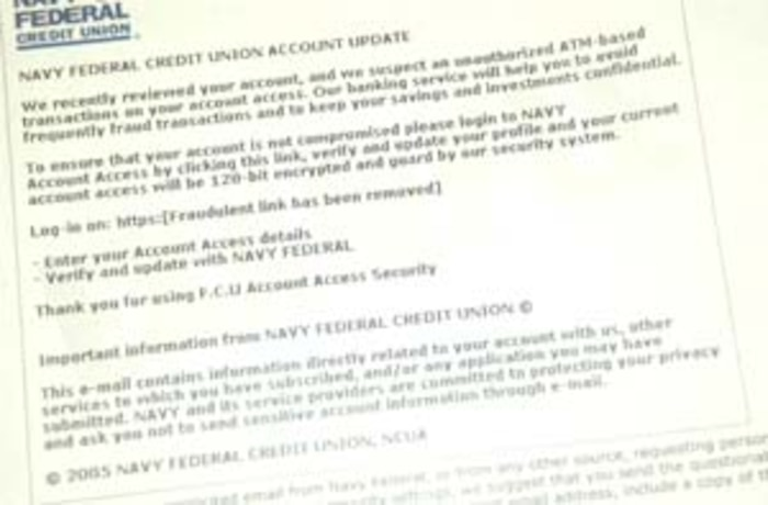 This is an example, fraudulent e-mail as portrayed on Navy Federal Credit Union's website. Navy Federal Credit Union recently announced a new fraud alert targeting Navy Federal bank members. The fraud comes in the form of an e-mail that greatly resembles Web pages from the Navy Federal Web site. The e-mail states that the user?s account has recently been reviewed and there are suspected unauthorized automated teller machine transactions on the account, according to Navy Falderal?s message. Photo by: Sgt. Danielle M. Bacon