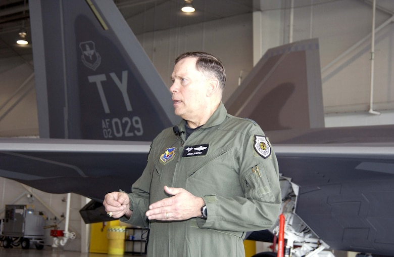 TYNDALL AIR FORCE BASE, Fla. -- After his F/A-22 Raptor qualification flight here, Air Force Chief of Staff Gen. John P. Jumper answers questions during a press conference.  (U.S. Air Force photo by Lisa Norman)