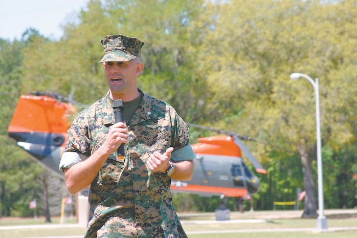 LtCol J. M. Arnold, Headquarters and Headquarters Squadron (HHS) Commanding Officer gives a congratulatory speech to Search and Rescue (SAR) for 48 years of good service.  The SAR unit, of HHS, Marine Corps Air Station Beaufort SC had its Divestiture ceremony on April 15, 2005.  The Unit was broken down and relocated to other units though out the Marine Corps.  SAR has been part of MCAS since 1957.
