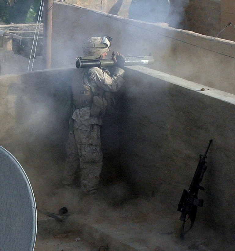 CAMP AL QA'IM, Iraq (Nov. 17, 2005) -- Paintsville, Ky., native Lance Cpl. Scotty R. Price, rifleman, Company I, 3rd Battalion, 6th Marine Regiment, Regimental Combat Team - 2, fires a Light Antitank Weapon at a possible insurgent position during Operation Steel Curtain.  (Official U.S. Marine Corps photo by Sgt. Jerad W. Alexander)