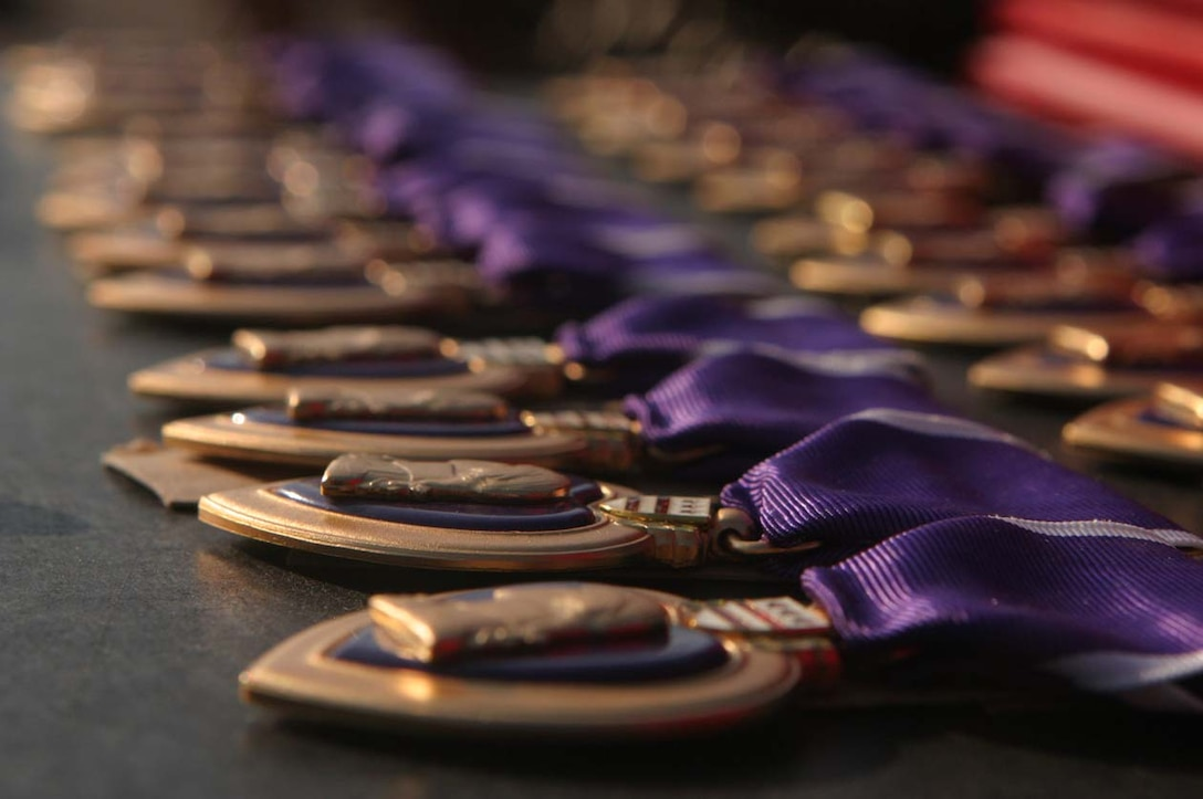 MARINE CORPS BASE CAMP LEJEUNE, N.C. -- The Purple Heart Medals are one of the oldest medals given out by the Marine Corps established by George Washington many years ago.  The Marines of 3rd Battalion, 8th Marine Regiment received their awards for wounds received during Operation Iraqi Freedom.  Official U.S. Marine Corps photo by Cpl. Athanasios L. Genos