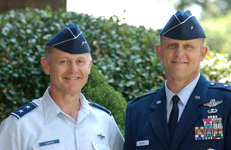 LANGLEY AIR FORCE BASE, Va. -- Maj. Gen. Stanley Gorenc (left) and his brother, Brig. Gen. Frank Gorenc, are two of 271 general officers in the active-duty Air Force of more than 350,000.  The two-star general is director of operational capabilities requirements in Washington, and his younger brother will be the 332nd Air Expeditionary Wing commander at Balad Air Base, Iraq.  (U.S. Air Force photo by Airman 1st Class Samantha Willner)