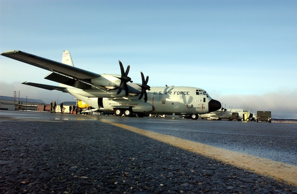 A WC-130J on the apron at Elmendorf Air Force Base, Alaska, in 2003. The J-model allows aircrews to fly higher improving the winter storm forecast models. (U.S. Air Force photo)