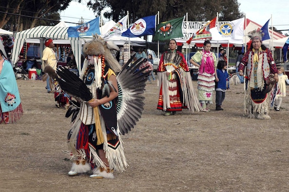 TRAVIS AIR FORCE BASE, Calif. (AFPN) -- Native Americans participate in a traditional dance during the fourth annual Veterans Powwow here. About 20 separate Native American nations were represented in the two-day event Nov. 5 and 6. (U.S. Air Force photo by Airman 1st Class Tiffany Low)