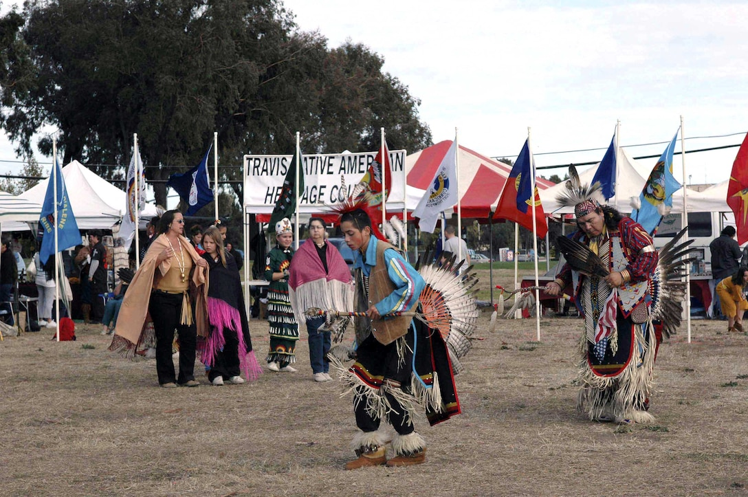 TRAVIS AIR FORCE BASE, Calif. (AFPN) -- Native Americans participate in a traditional dance during the fourth annual Veterans Pow Wow here. About 20 separate Native American nations were represented in the two-day event Nov. 5 and 6.  (U.S. Air Force photo by Airman 1st Class Tiffany Low)