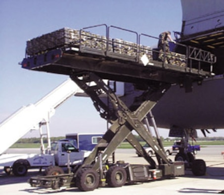 The Halvorsen Loader is a rapidly deployable, high-reach mechanized aircraft loader that can transport and lift up to 25,000 pounds of cargo onto military and civilian aircraft.