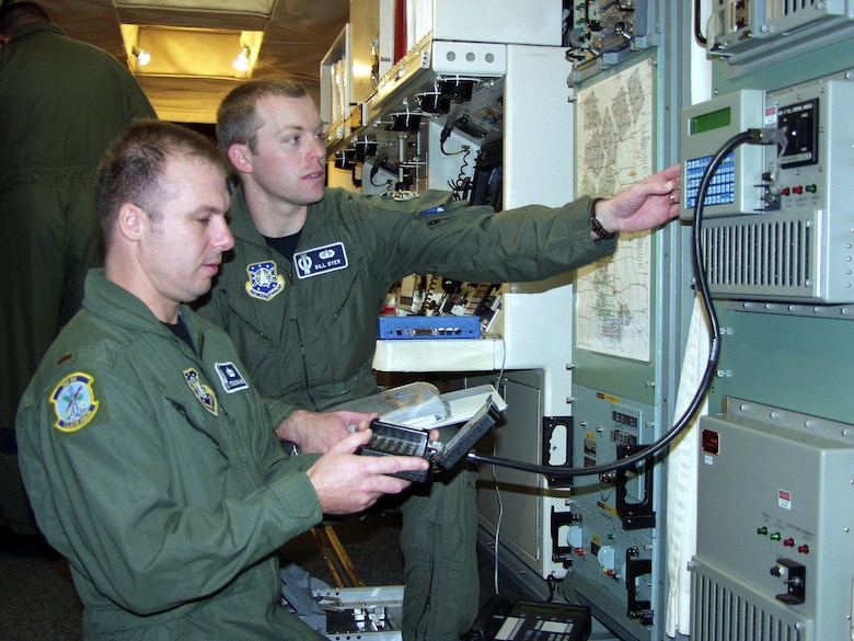 MINOT AIR FORCE BASE, N.D. (AFPN) -- Second Lt. Stephen Grinage (left) and 1st Lt. Bill Dyer do a very low frequency key load for the minimum essential emergency communication network at the Oscar-01 missile alert facility. The completion of Oscar-01, on Nov. 11, marked the final modification to the last of 50 launch control centers. Lieutenants Grinage and Dyer are with the 742nd Missile Squadron. (U.S. Air Force photo by Staff Sgt. Carla Williams)