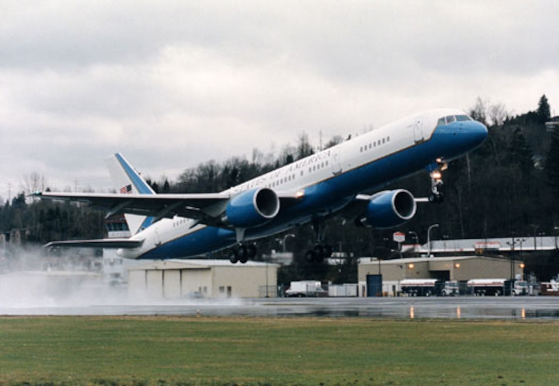 ANDREWS AIR FORCE BASE, Md. -- A C-32, a specially configured version of the Boeing 757-200 commercial intercontinental airliner, takes off here. (U.S. Air Force photo)