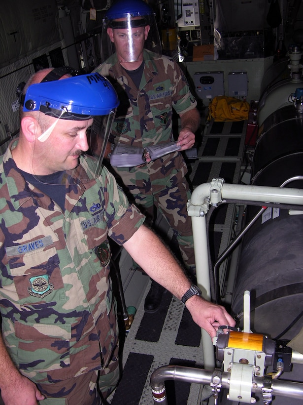 050913-F-3849M-001    Tech. Sgt. Jim Graves (left) and Staff Sgt. Tom Kocis, aerial spray maintenance technicians with the 910th Aircraft Maintenance Squadron, check recirculation valves during a pre-flight inspection of the Modular Aerial Spray System Sept. 13. (U.S. Air Force photo by Tech. Sgt. Shawn David McCowan)