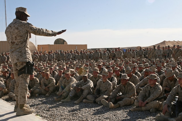 Sgt. Maj. Carlton W. Kent, sergeant major of the Marine Corps, expresses his belief that the Marines in Afghanistan are continuing the Marine Corps legacy, Nov.26, in Helmand Province, Afghanistan. Kent also expressed his appreciation for the Marines hard work and sacrifice.