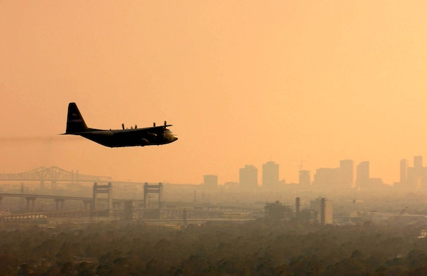 NEW ORLEANS -- A U.S. Air Force Reserve C-130 Hercules from the 910th Airlift Wing at Youngstown Air Reserve Station, Ohio, sprays Dibrom, a pesticide approved by the U.S. Environmental Protection Agency, over the city Sept. 13.  The C-130 crew plans to spray the New Orleans area first, then other affected Gulf Coast areas as required.  Crews will target are primarily mosquitoes and filth flies, which are capable of transmitting diseases such as Malaria, West Nile virus, and various types of Encephalitis.  The C-130 is capable of spraying about 60,000 acres per day.  (U.S. Air Force photo by Staff Sgt. Jacob N. Bailey)