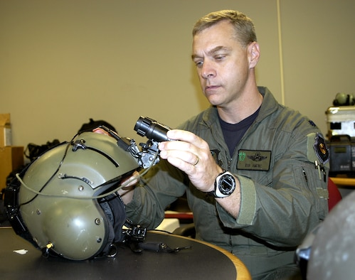 JACKSON, Miss. -- Lt. Col. Rob Ament inspects his night-vision device before a rescue flight.  The devices include night-vision goggles, a helmet mounting system and a battery pack.  Rescuers on HH-60G Pave Hawk helicopters used the equipment to locate people in New Orleans stranded by Hurricane Katrina.  Colonel Ament is the director of operations for Air Force Reserve Command's 920th Rescue Wing at Patrick Air Force Base, Fla.  (U.S. Air Force photo by Senior Master Sgt. Elaine Mayo)
